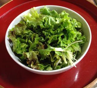 お昼は生野菜のサラダを山盛り!