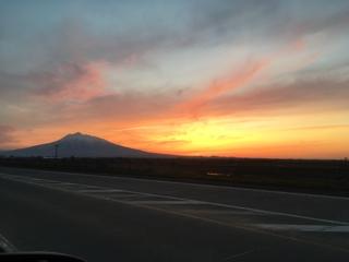 岩木山と夕焼け